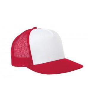 Бейсболка с сеткой красно-белая
