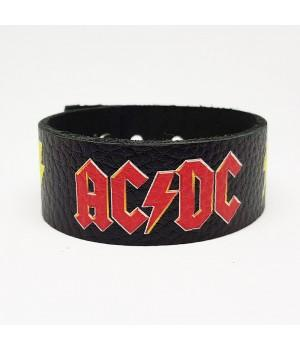 """Браслет """"AC/DC"""" кожаный"""