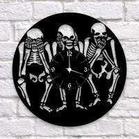 """Часы """"Скелеты"""" из виниловой пластинки"""
