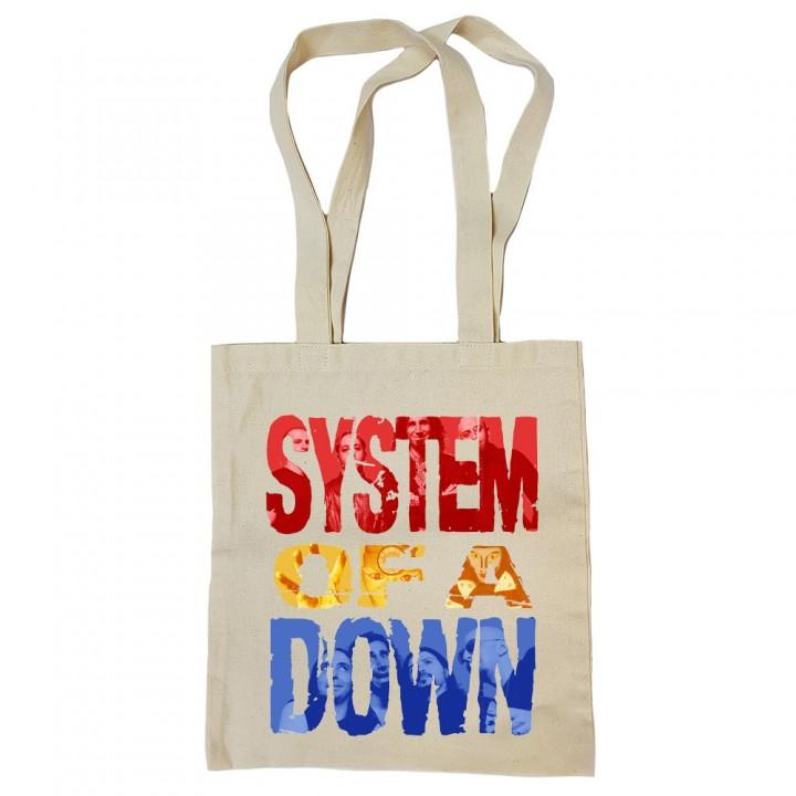 """Сумка-шоппер бежевая """"System Of A Down"""" (16835)"""