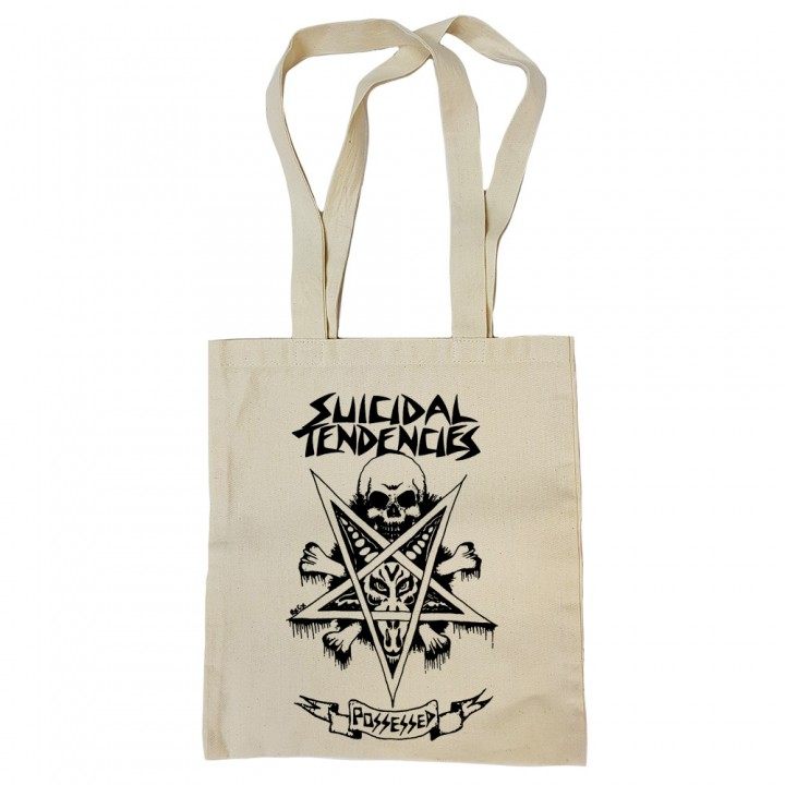 "Сумка-шоппер бежевая ""Suicidal Tendencies"" (16838)"