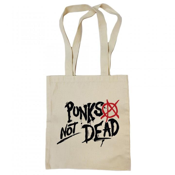 "Сумка-шоппер бежевая ""Punks Not Dead"" (16839)"