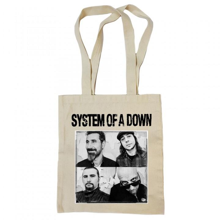 """Сумка-шоппер бежевая """"System Of A Down"""" (16836)"""