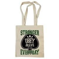 """Сумка-шоппер """"Obey the Brave"""" бежевая"""
