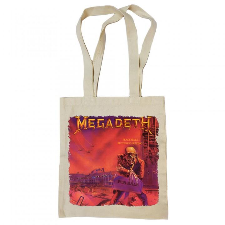 "Сумка-шоппер бежевая ""Megadeth"" (16591)"