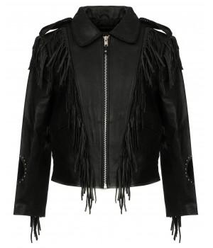 Куртка кожаная First мужская M 783 R WEAR с бахромой