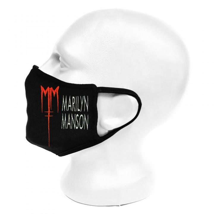 "Маска для лица черная защитная двухслойная ""Marilyn Manson"" (16647)"