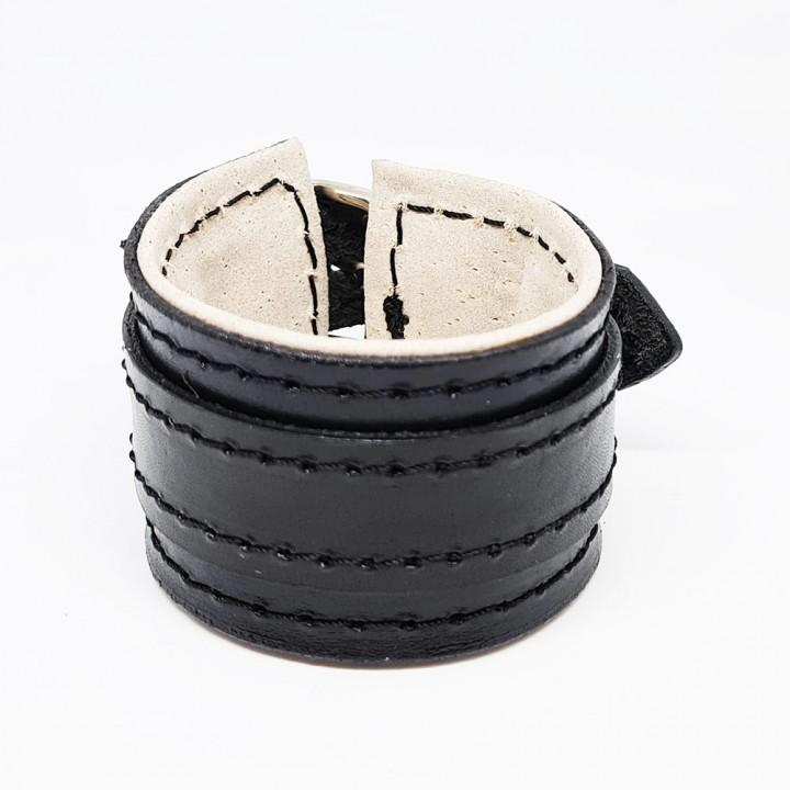 Напульсник кожаный черный (17135)