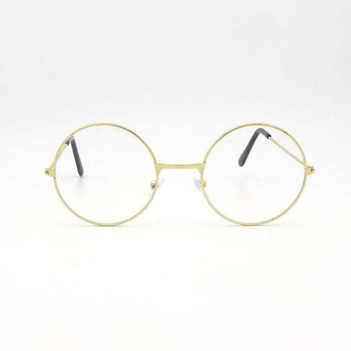 Очки круглые с прозрачными стеклами (золотая оправа) (8153)