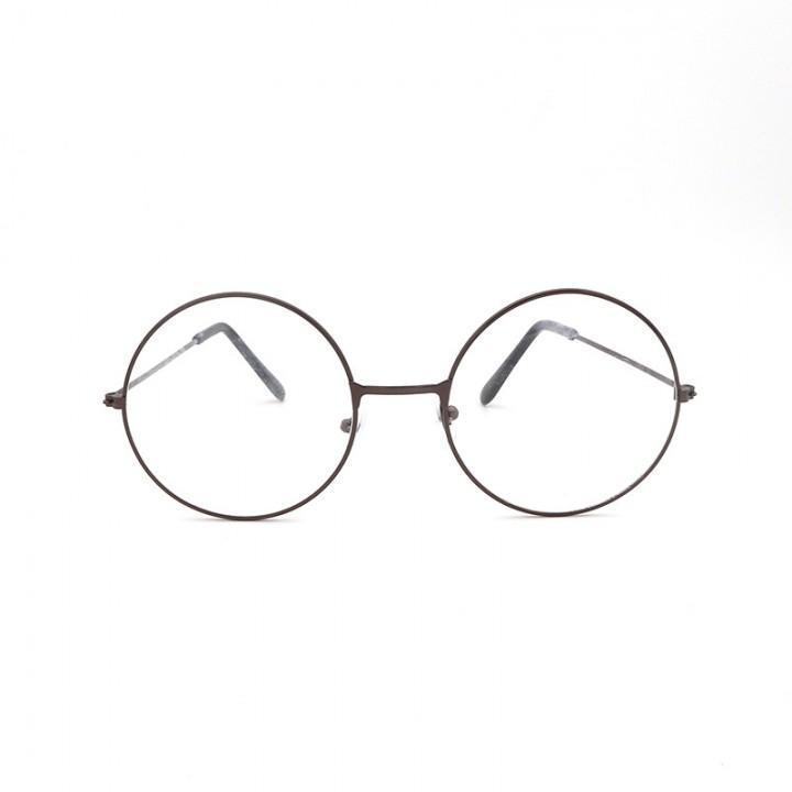 Очки круглые с прозрачными стеклами (бронзовая оправа) (8156)
