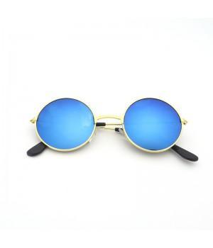 Очки детские солнцезащитные круглые с синими зеркальными стеклами