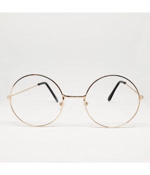 Очки круглые с прозрачными стеклами (светло-бронзовая оправа)