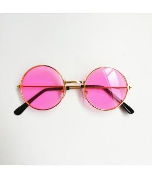 Очки детские солнцезащитные круглые с розовыми стеклами