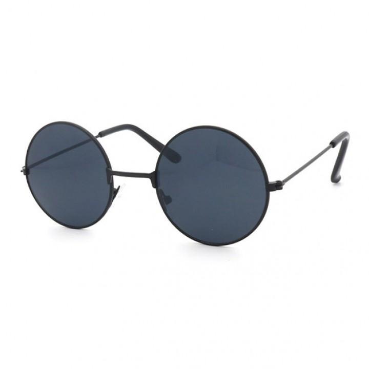 Очки солнцезащитные круглые с черными стеклами (7204)