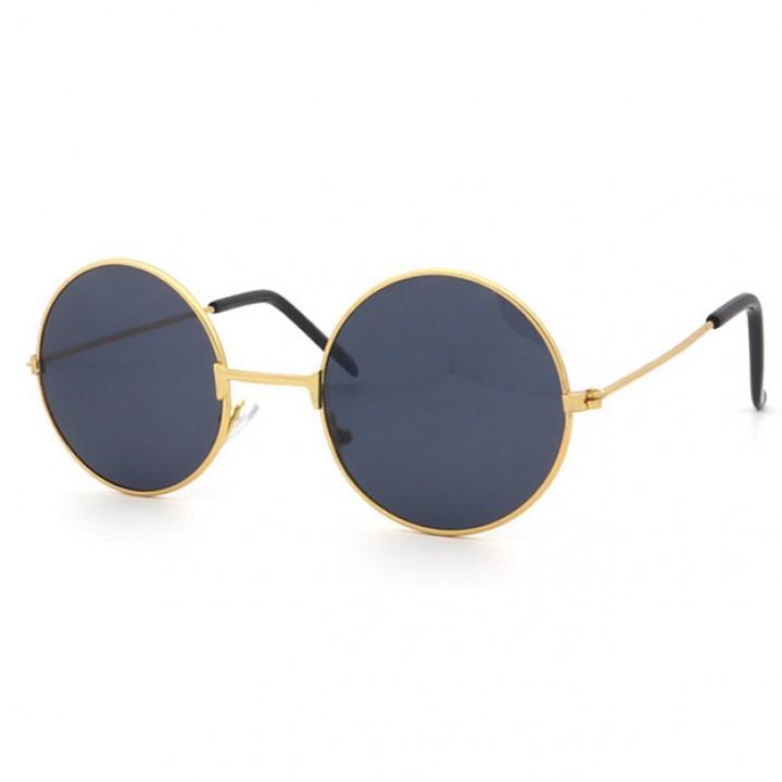 Очки солнцезащитные круглые с черными стеклами (7206)