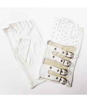 Перчатки без пальцев кожаные женские белые