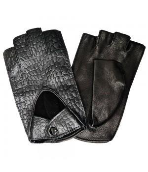 """Перчатки без пальцев кожаные женские """"Accent"""" черные (883)"""