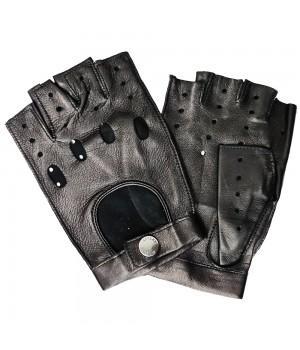 """Перчатки без пальцев кожаные мужские """"Accent"""" черные (394)"""