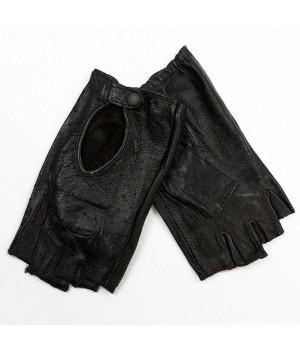 Перчатки без пальцев кожаные женские черные