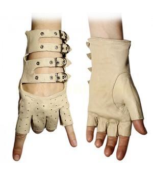 Перчатки без пальцев кожаные женские бежевые