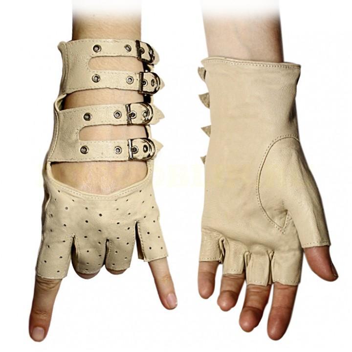 Перчатки без пальцев кожаные женские бежевые (1886)
