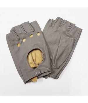 Перчатки без пальцев кожаные женские серые