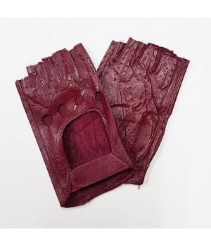 Перчатки без пальцев кожаные женские бордовые