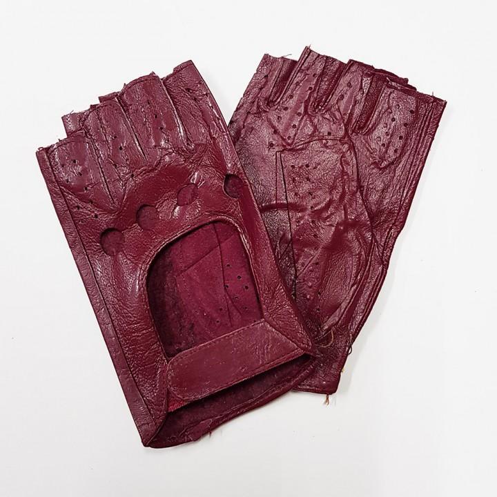 Перчатки без пальцев кожаные женские бордовые (9870)