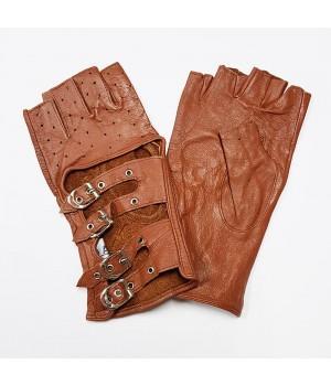 Перчатки без пальцев кожаные женские коричневые