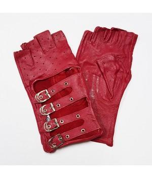 Перчатки без пальцев кожаные женские красные