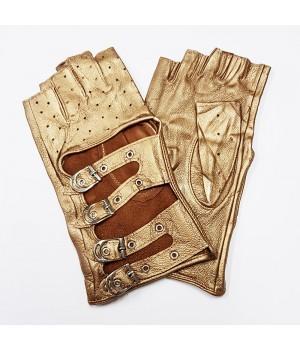 Перчатки без пальцев кожаные женские бронзовые