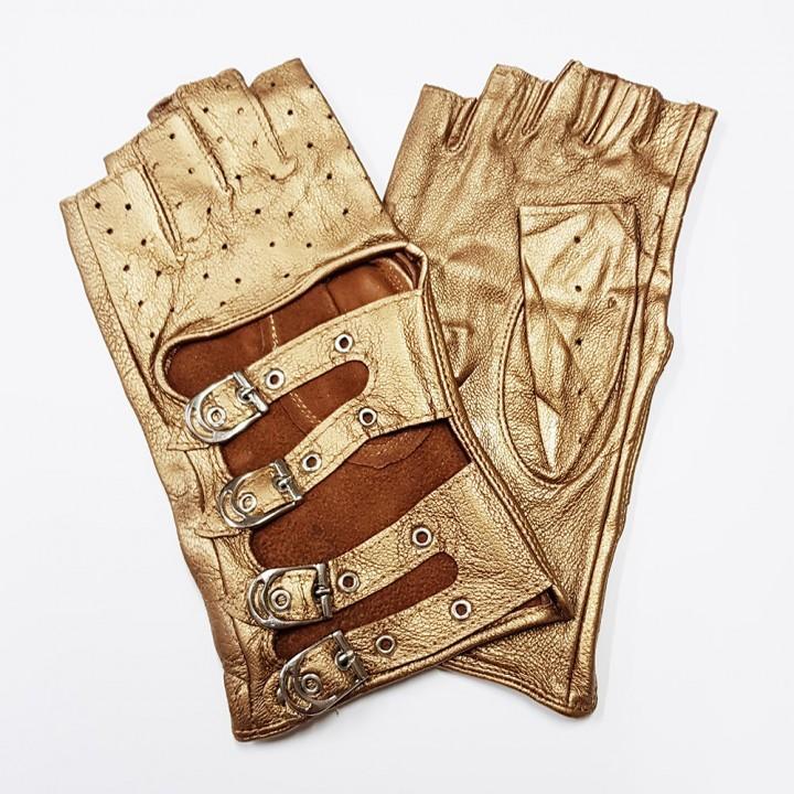 Перчатки без пальцев кожаные женские бронзовые (9865)
