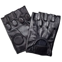 """Перчатки без пальцев кожаные мужские """"First"""" с защитой"""