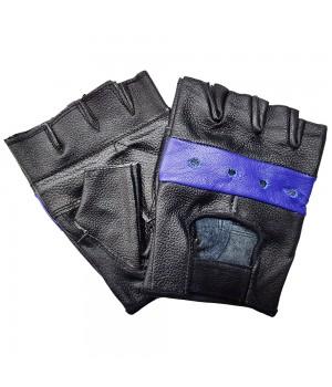 """Перчатки без пальцев кожаные мужские """"First"""" черно-синие"""