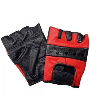 """Перчатки без пальцев кожаные мужские """"First"""" черно-красные"""