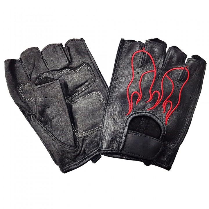 """Перчатки без пальцев кожаные мужские """"First"""" пламя (16198)"""
