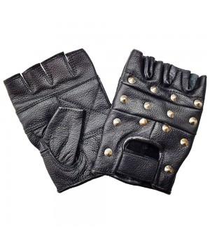"""Перчатки без пальцев кожаные мужские """"First"""" с шипами"""