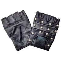 """Перчатки без пальцев кожаные мужские """"First"""" с клепками"""
