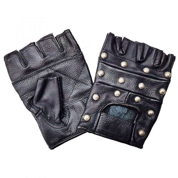 """Перчатки без пальцев кожаные мужские """"First"""" с клепками (16200)"""