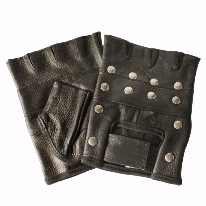 """Перчатки без пальцев кожаные мужские """"Sulehri"""" с клепками (1882)"""