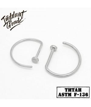"""Кольцо в нос D-ring """"Implant Grade"""" 0.8 мм титан"""