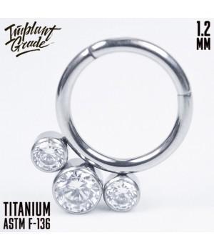 """Кольцо-кликер 3 Crystals """"Implant Grade"""" 1.2 мм титан"""