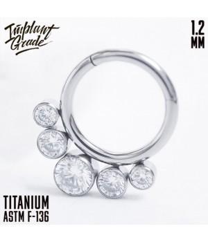 """Кольцо-кликер 5 Crystals """"Implant Grade"""" 1.2 мм титан"""