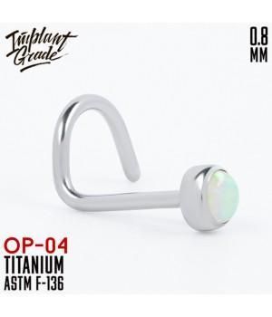 """Нострил с опалом """"Implant Grade"""" 0.8 мм титан"""