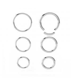 Кольцо для пирсинга сегментное из стали серебристое 1,0 мм