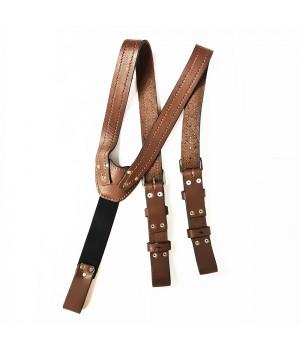 Подтяжки кожаные коричневые