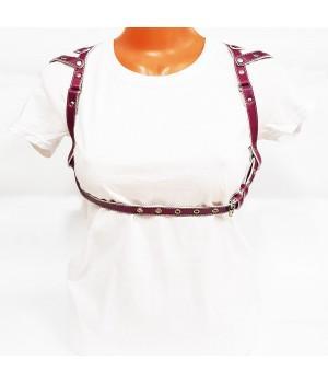 Портупея кожаная женская розовая