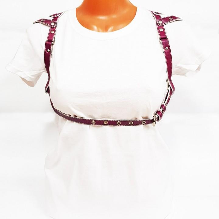 Портупея кожаная женская розовая (13541)