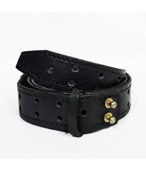 Ремень кожаный черный (3,5 см)