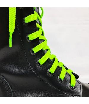 """Шнурки для кроссовок и кед """"Кислотно-зеленые плоские 8 мм - 1.5 м"""""""
